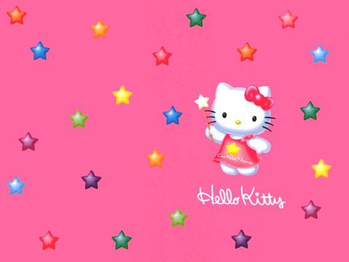 Colorful Hello Kitty Pentagram Hd Wallpaper