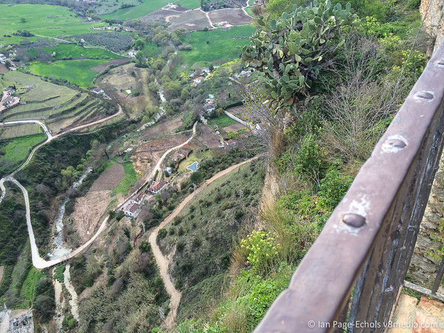Looking down the cliff into the valley from Ronda