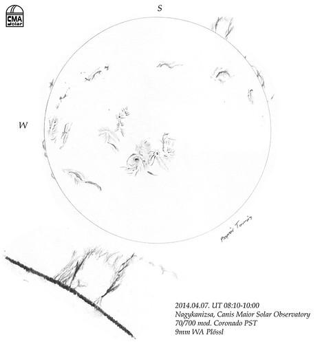 H-alpha Sun – 2014.04.07. - Bognár Tamás