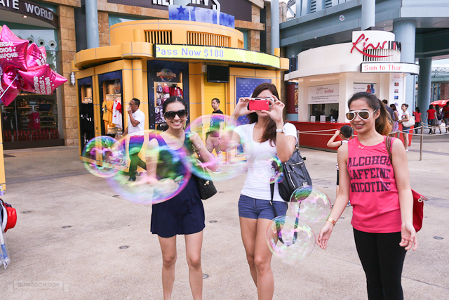 The girls fascinated with bubbles