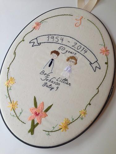Custom 60th wedding anniversary embroidery