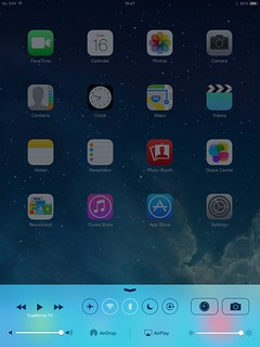 Control Center ของ iPad Mini with Retina Display