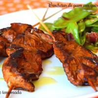 Brochetas de pavo con guisantes finos (Cenas ligeras)