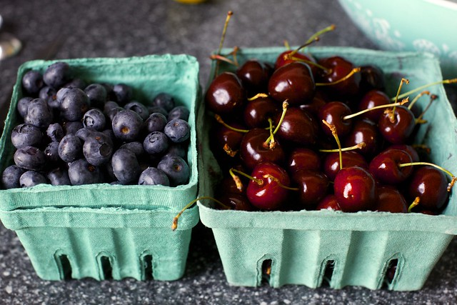 blueberries, cherries