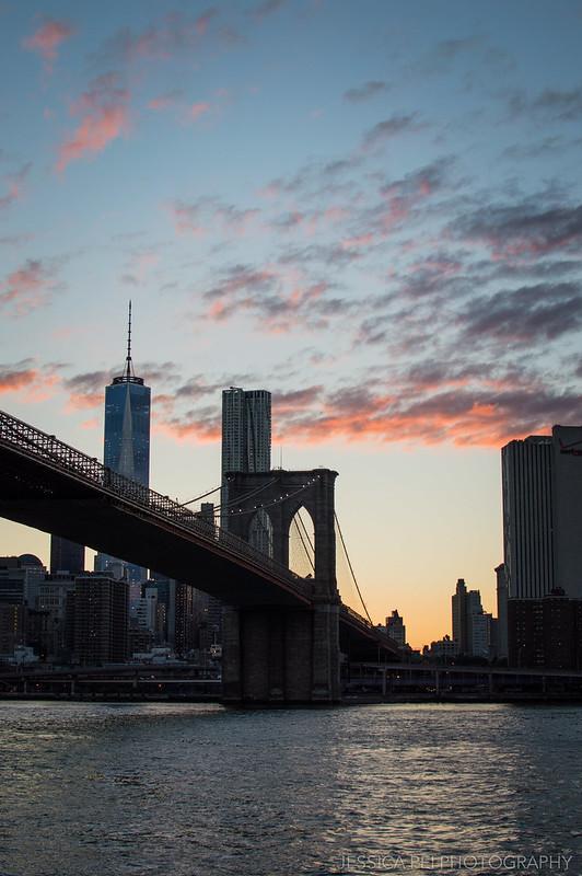 Sunset over Manhattan from Brooklyn Bridge