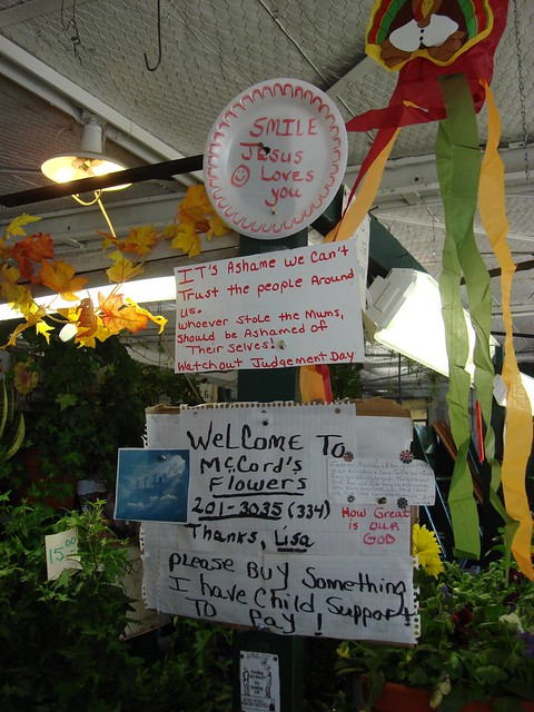 Signs at the Montgomery Curb Market