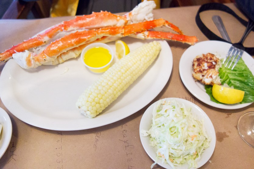 Crab legs and that perfect ear of corn.