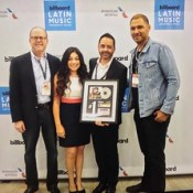 Celeste Zendejas our director and Eliezer Ponce, our associate director honored to present #1 plaque for global hit #Despacito by Luis Fonsi featuring Daddy Yankee to Danny  Strick, co-president of Sony/ATV Music Publishing and Jorge Mejia, president of S