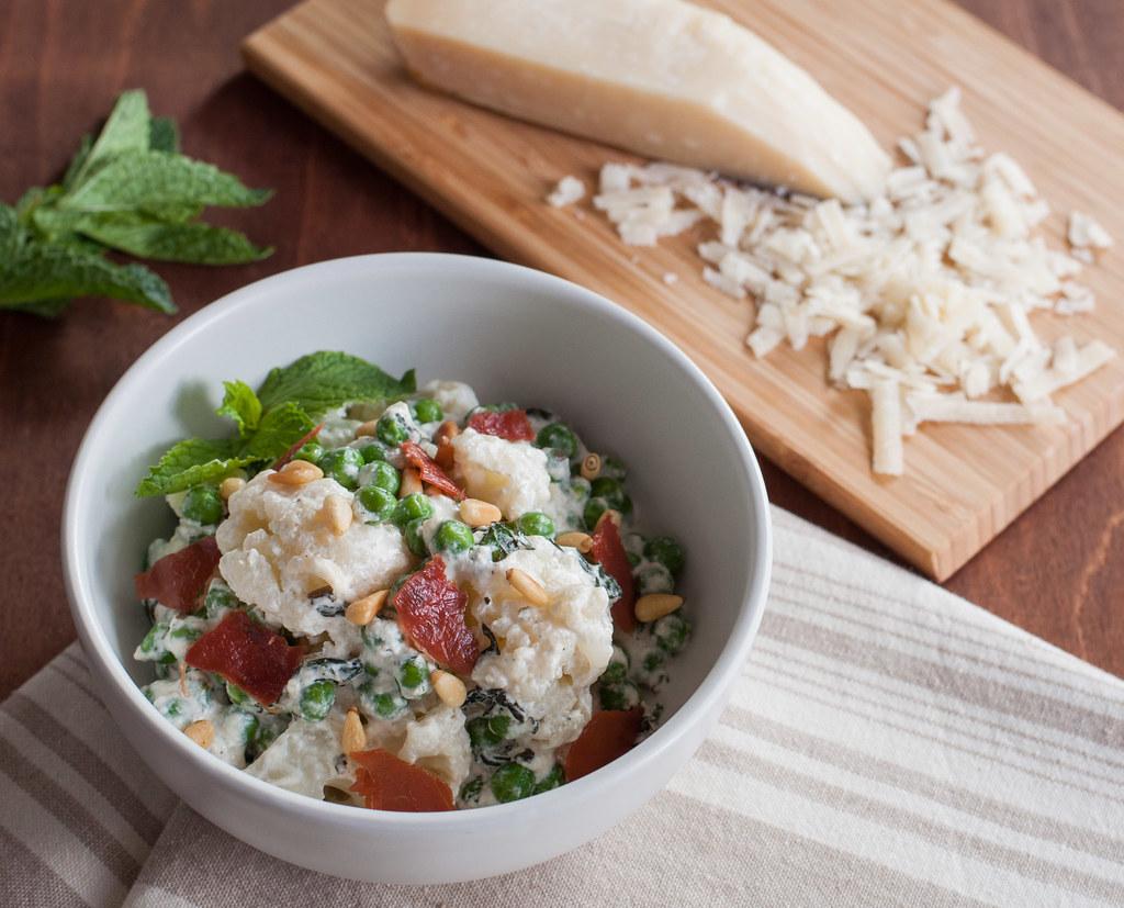 Cauliflower pasta--herbs left