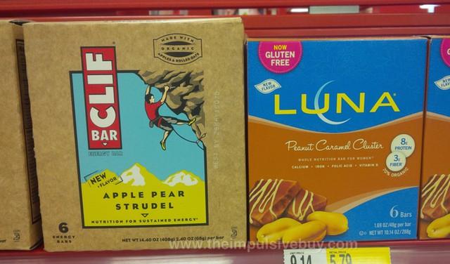 Clif Bar Apple Pear Strudel and Luna Peanut Caramel Cluster Bar