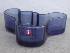 Iittala Alvar Aalto Designed Smokey Blue Glass Bowl Mid Century Modern