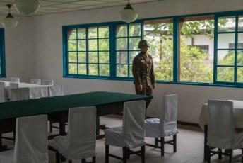In dit zaaltje in Panmunjom werden de besprekingen om tot een wapenstilstand tussen Noord- en Zuid-Korea te komen gehouden.