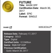"Future Single ""Mask Off"" Now Certified Gold"