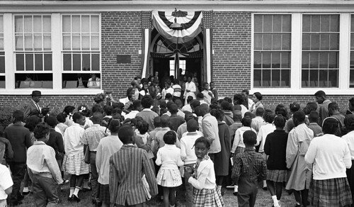 [African American school children entering the Mary E. Branch School at S. Main Street and Griffin Boulevard, Farmville, Prince Edward County, Virginia] (LOC)
