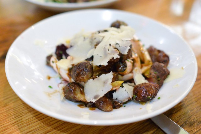 Pan-Roasted Chicken Gizzards. roasted beets. belgian endive. aged capra sarda.