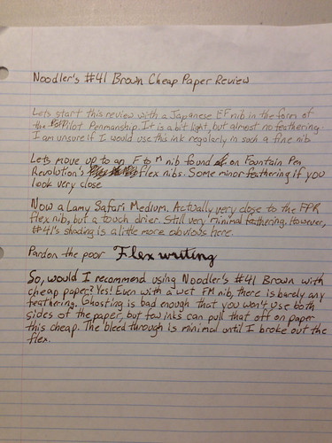 Noodler's #41 Brown Cheap Paper Review