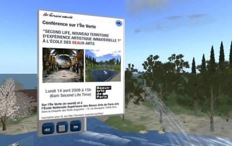 Second Life, nouveau territoire d'expérience artistique immatérielle ? A l'école des Beaux-Arts (Paris) et sur l'Ile Verte (Second Life)