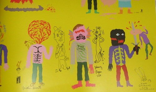 Detail of sketches by Matt Furie, Jonathan Bennett, Souther Salazar, Chris Ware, Sammy Harkham, Johnny Ryan, and Matt Groening