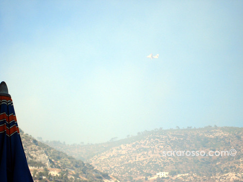 Canadair plane flying among the wildfire smoke in Puglia's Gargano, Italy