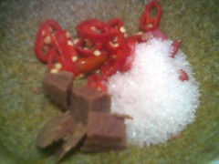 Chillies, belacan and sugar