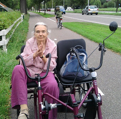 grandmother on trycicle