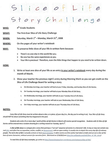 Slice of Life Student Challenge Announcement
