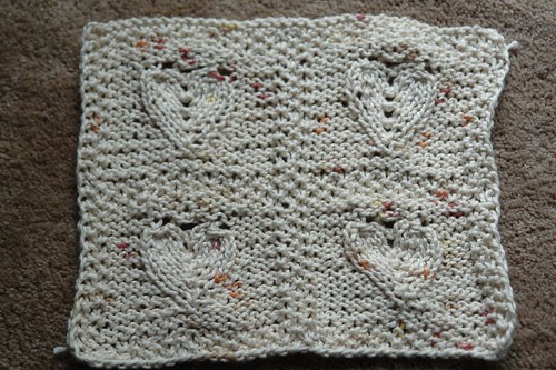 4 embossed hearts washcloth