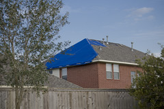 Tarp covered roof