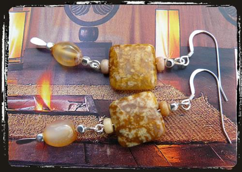 Orecchini beige - Beige earrings AMHDGS