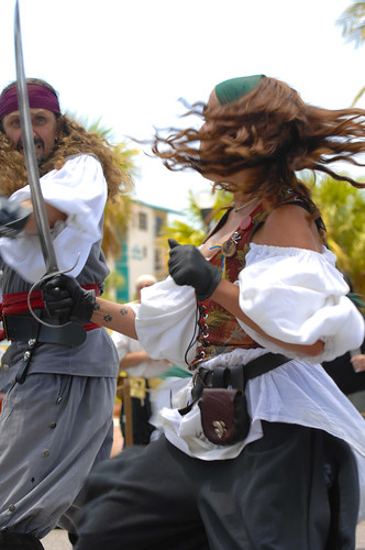 Pirates fighting with swords