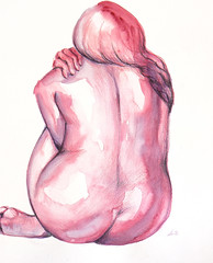 Introspection - pencil and watercolors on paper A3