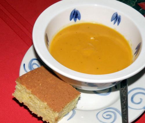 squash soup and cornbread