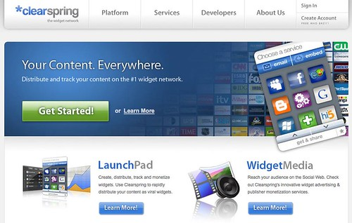 Screenshot of the Clearspring Home Page