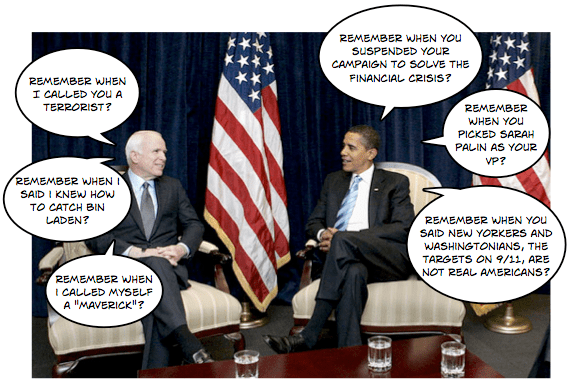 Obama and McCain reminisce