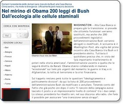 Nel mirino di Obama 200 leggi di Bush Dall'ecologia alle cellule staminali - esteri - Repubblica.it