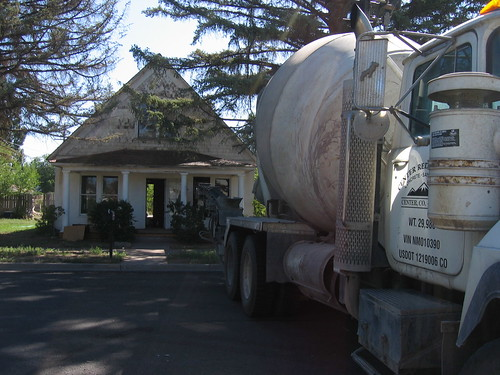 The concrete truck backed up to our house last Thursday.