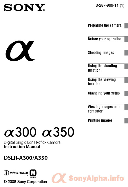 Sony Aplha DSLR-A350 A300 User Manual