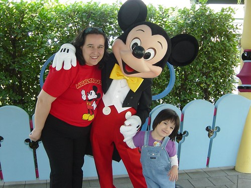 Bethany and mummy with Mickey