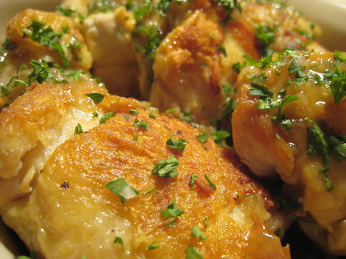 Pan-roast chicken with lemon and herbs