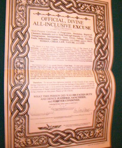 20080411 - SubGenius stuff - 154-5413 - Official, Divine, All-Inclusive Excuse