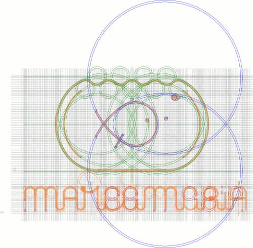 Geometrização sobre grade do símbolo misto da marca .marcamaria