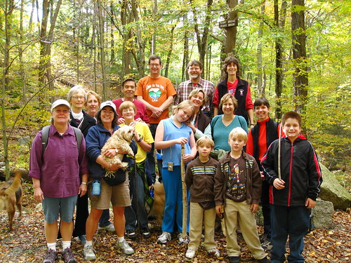 Church members and friends at Penny Bridge in the Lynn Woods. Click on photo for larger image.