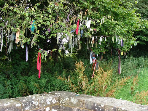 Kirsty Hall, photograph of fabric offerings at The Virtuous Well, Trellech