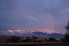 Arizona Monsoon Rainbow with Low Clouds