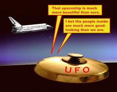 Two extraterrestrial (E.T.) alien Martians dri...