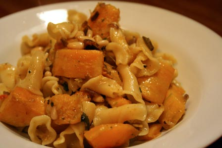 Butternut Squash and Pine Nut Pasta