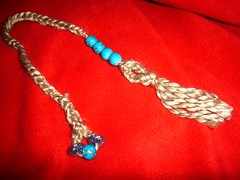 crocheted bookmark with beads