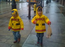 firemen walking to the cupcake shop