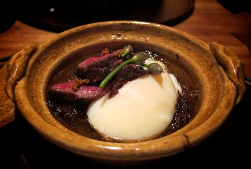 Braised Wagyu Beef with seared Wagyu Beef and a Poached Egg by bloompy