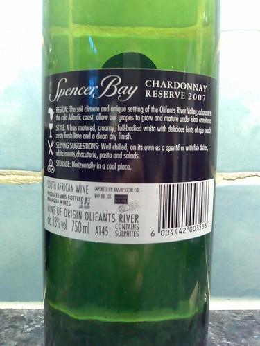 Spencer Bay Chardonnay 2007 Back Label